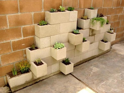 cinder block wall planter