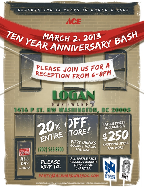 Save the Date! Sat. March 2nd is our 10  Year Anniversary Party!